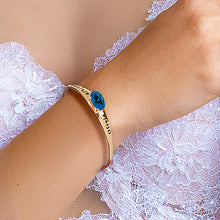 Load image into Gallery viewer, Personalized Birthstone Bangle with Oval Stone