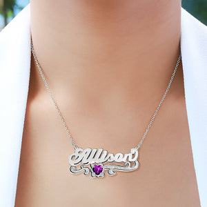 "Double Plated Name ""Allison"" Necklace with Birthstone"