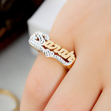 Load image into Gallery viewer, Personalized Name Ring with Beaded Rhodium Tail