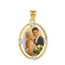 Load image into Gallery viewer, Gold Diamond Cut Oval Color Photo Pendant
