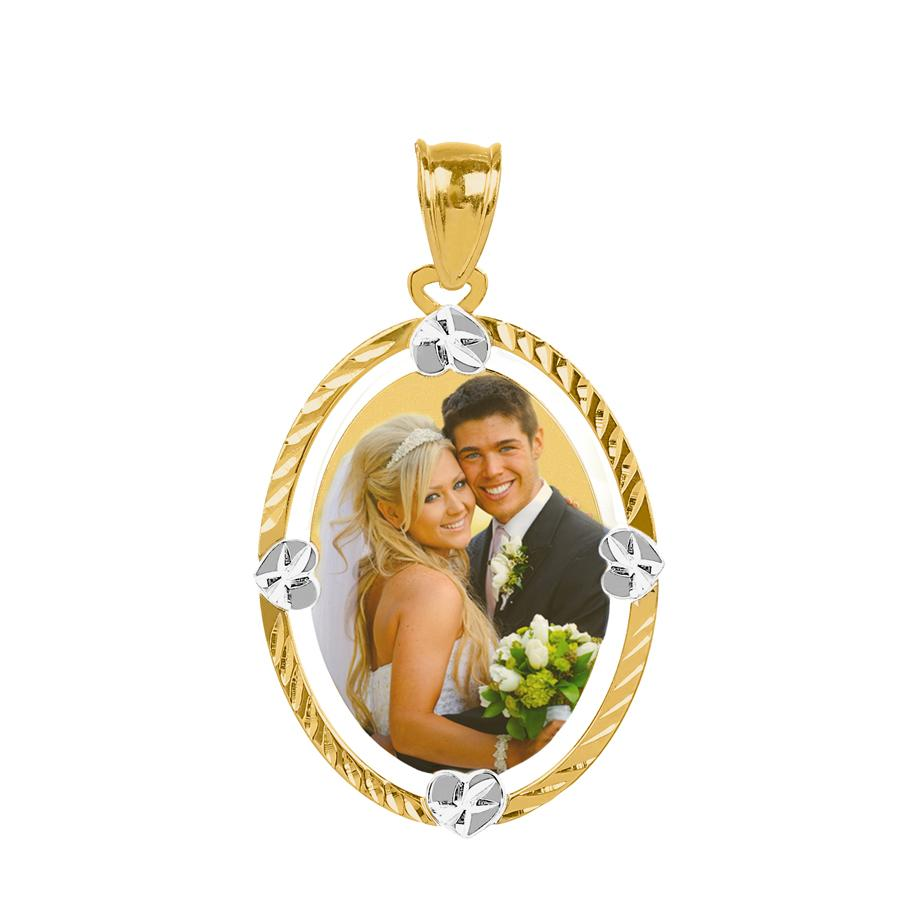 Gold Diamond Cut Oval Color Photo Pendant
