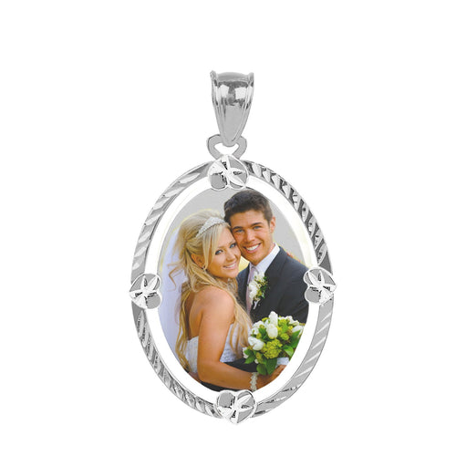 Sterling Silver Diamond Cut Oval Color Photo Pendant
