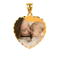 "Load image into Gallery viewer, Gold 7/8"" Heart Color Photo Pendant"