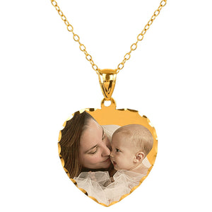 "Sterling Silver 7/8"" Heart Color Photo Pendant"