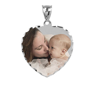 "Sterling Silver 1"" Heart Color Photo Pendant"