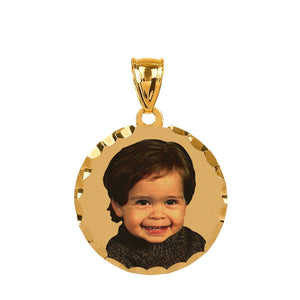 Gold Round Color Portrait Pendant