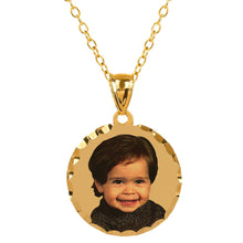 Load image into Gallery viewer, Gold Round Color Portrait Pendant