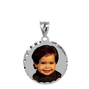 Sterling Silver Round Color Portrait Pendant