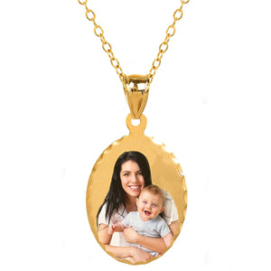 Gold Oval Color Photo Pendant