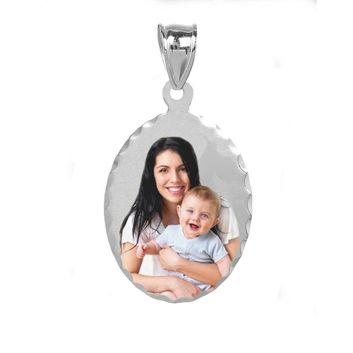 Sterling Silver Oval Color Photo Pendant