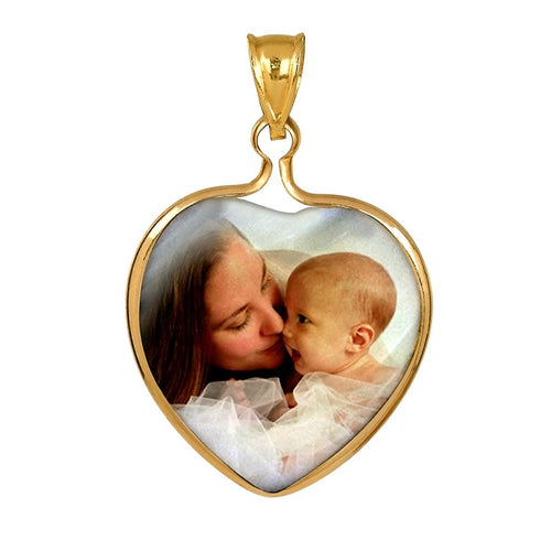 Gold Mother of Pearl Photo Pendant