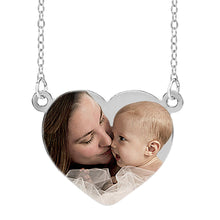 "Load image into Gallery viewer, Sterling Silver 1"" Heart Color Photo Pendant Split"