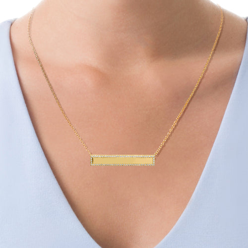 Horizontal Bar Necklace with CZ Stones
