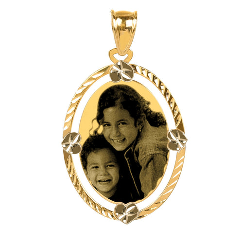 Gold Diamond Cut Oval Photo Pendant