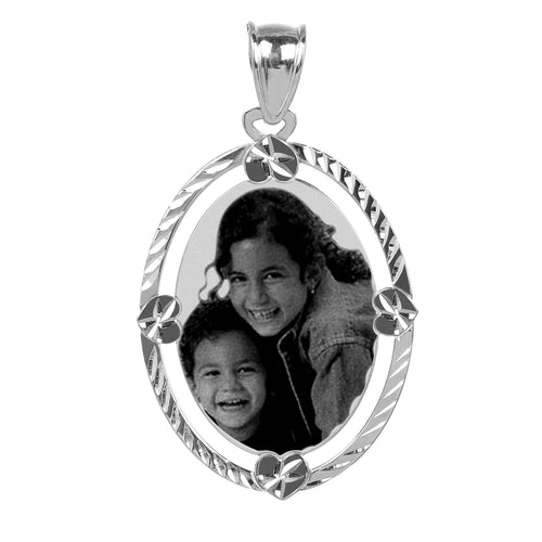 Sterling Silver Diamond Cut Oval Photo Pendant