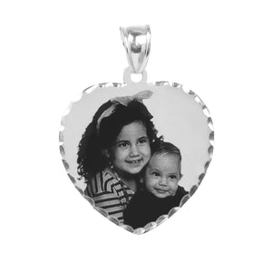 "Sterling Silver 7/8"" Heart Photo Pendant"