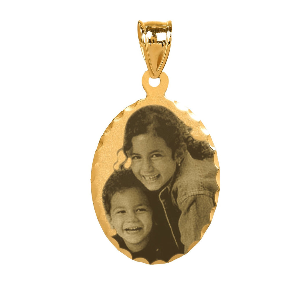 Gold Oval Photo Pendant