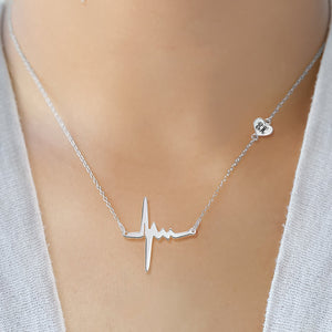 Heartbeat Necklace with Heart and Engraving