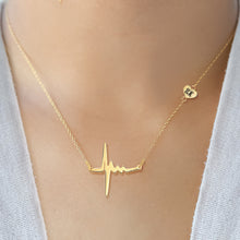 Load image into Gallery viewer, Heartbeat Necklace with Heart and Engraving