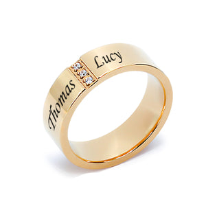 Stainless Steel Gold Tone Band with CZ's for Him