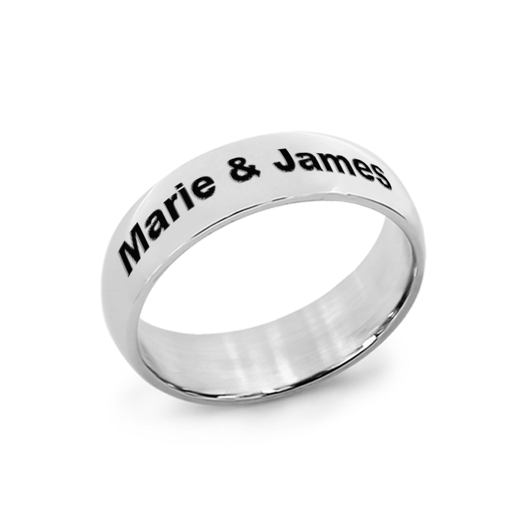 Stainless Steel Silver Tone Wedding Band for Her