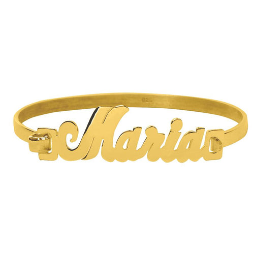 Gold Clasp Bangle Name Bracelet