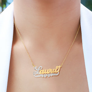 Laura Nameplate Necklace with Heart and Tail