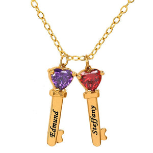 Gold Two Key Charms with Heart Birthstones and Engraving