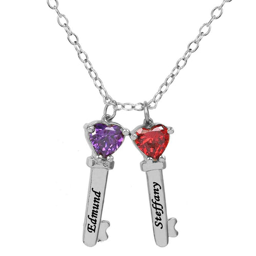 Sterling Silver Two Key Charms with Heart Birthstones and Engraving
