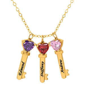 Gold Three Key Charms with Heart Birthstones and Engraving