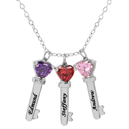 Sterling Silver Three Key Charms with Heart Birthstones and Engraving