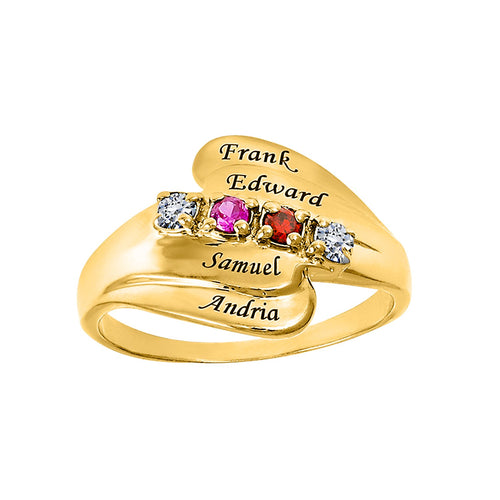 Gold Ring with Stones & Engraving