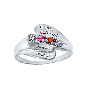 Sterling Silver Ring with Stones & Engraving