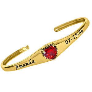 Gold Personalized Birthstone Bangle with Heart Stone A