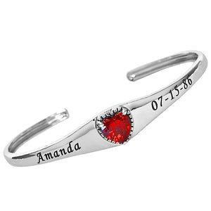 Sterling Silver Personalized Birthstone Bangle with Heart Stone A