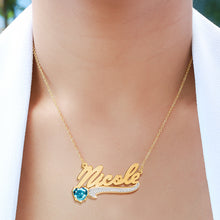 Load image into Gallery viewer, Script Name Necklace with Birthstone