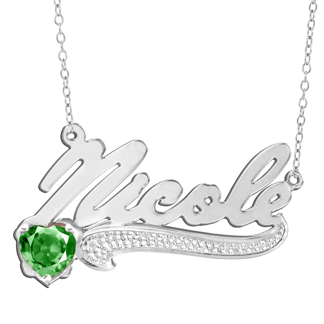 Sterling Silver Script Name Necklace with Birthstone