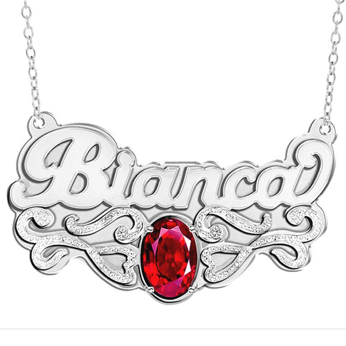 Sterling Silver Double Plated Name Necklace with Birthstone