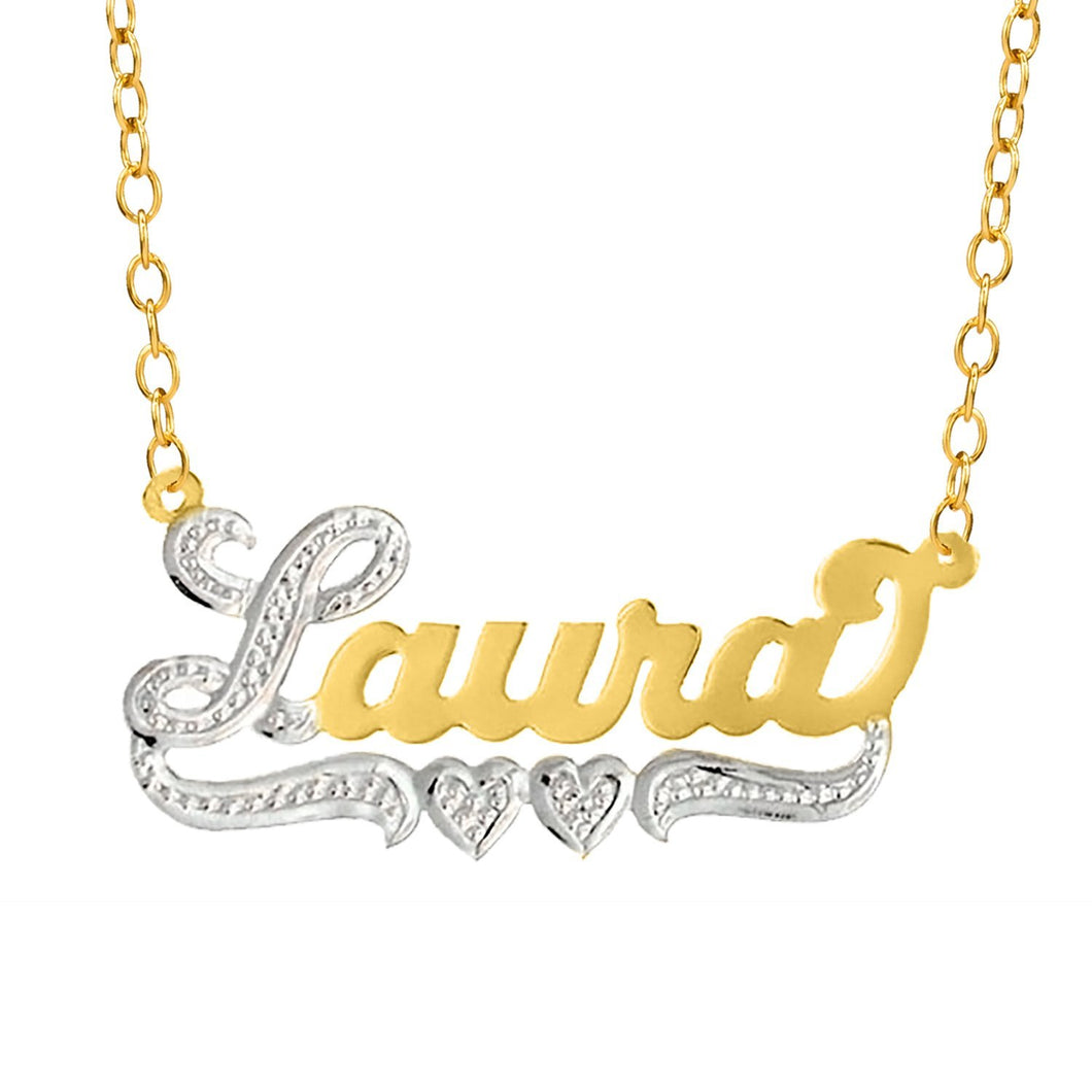 Gold Laura Nameplate Necklace with Heart and Tail