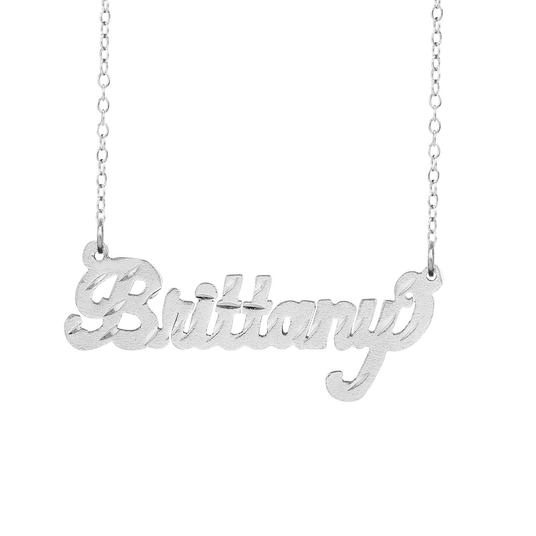 Sterling Silver Brittany Name Necklace with Diamond Cuts