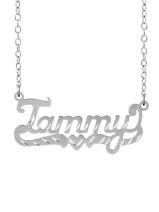 Sterling Silver Tammy Name Necklace with Tail and Heart
