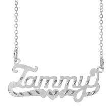 Load image into Gallery viewer, Scripted  Name Necklace with Tail and Heart