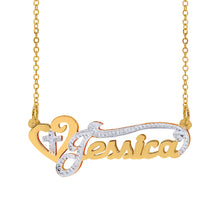 Load image into Gallery viewer, Double plated name necklace with Heart and Cross Double