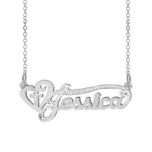 Double plated name necklace with Heart and Cross Double