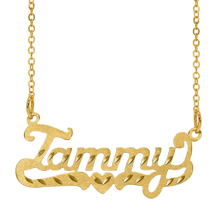 Scripted  Name Necklace with Tail and Heart