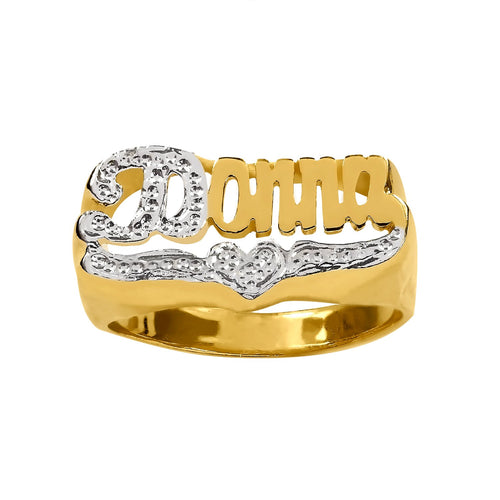 Gold Personalized Name Ring with Beaded Rhodium Tail