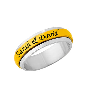 Stainless Steel Gold Tone Spinner Ring for Her