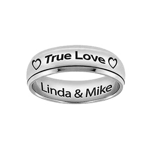 "Stainless Steel Silver Tone Spinner Ring ""True Love"""