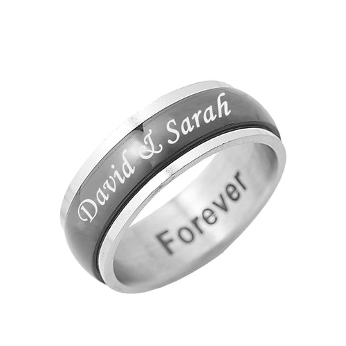 Stainless Steel Black tone spinner ring for Him