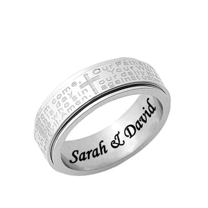 Stainless Steel Religious Spinner Ring for Her